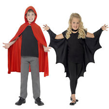 Smiffys Childs Vampire Bat Wings Or Hooded Cape Halloween Fancy Dress Costume