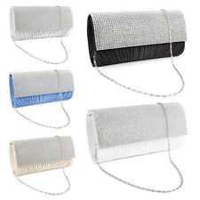 Twill Pleated Flap Satin Clutch Allover Rhinestone Women Party Bag Evening Bag