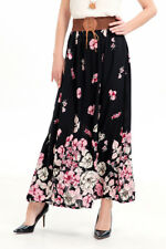 Women Chiffon Floral High Waist Boho Maxi Dress Pleated Long Skirt Beach Skirt