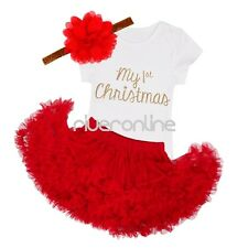 Baby Newborn Infant Girls Christmas Party Outfits Skirt Romper Headband Costume