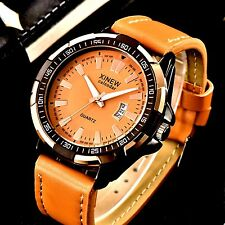 mens leather watch sport analog casual dress style water resistant  UTO DATE