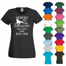 HORSES CAN'T HAVE JUST ONE Horse Riding Showjumping Hobby New Ladies T Shirt Top