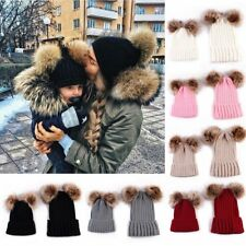 Mom&Newborn Baby Boys Girls Winter Warm Fur Pom Bobble Knit Beanie Hat Ski Cap