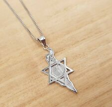925 Sterling Silver Israel Map Necklace Star Of David Judaica Jewelry Pendant