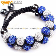 Girls 10mm Pave CZ Rhinestone Double Disco Ball Beads Clay Jewelry Bracelet 7-8""