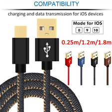Strong Denim Gold Plug Data Sync 2A Fast Charger Cable Cord for iPhone iPad iPod