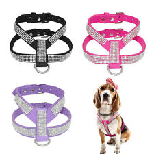 XXS/XS Small Dog Harness Vest Real Leather W/ Bling Rhinestone for Young Puppy