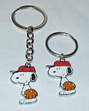 Snoopy Baseball Charm Key chain or Stainless Steel Key ring Handcrafted