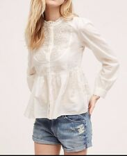 Anthropologie Embroidered Mockneck Buttondown Blouse by Floreat $118  Sz 12- NWT