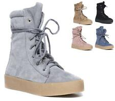LADIES WEDGE TRAINERS LACE UP COMFY SOLE FLATFORM SNEAKERS TOP HI ANKLE BOOTS