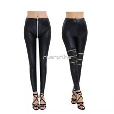 Womens Leather Wetlook Slim Skinny Trousers Stretchy Leggings Pants Tight Hot