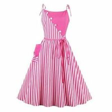New Fashion Striped Vintage Sleeveless Knee Length Pink Color Dress For Women