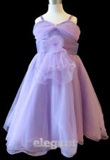 Purple Lilac V Wedding Flower Girls Party Dress Pageant Gown Size 3-12 Age 2-13