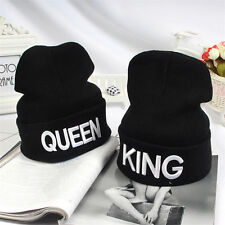 KING QUEEN Embroidery Beanie Bed Head Knit Unisex Fashion Hat Couple Gifts NEW