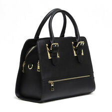 Designer Inspired LOEM black zipper dual pockets boxer shoulder Bag handbag bone