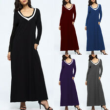 S-5XL 5 Colors Sexy 2017 Women V Neck Long Maxi Dress Long Sleeve Party Dresses