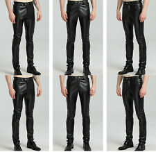 Punk Men's Motorcycle Biker Pants Pu Leather Trousers Skinny Gothic Trousers
