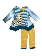 Rare Editions Zebra Teal Striped Yellow Dot Legging Set  2T 3T 4T