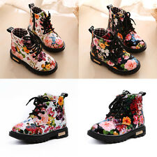 Fashion Kids Toddler Girls Flowers Anti-Slip Lace Up Smart Ankle Boots Shoes