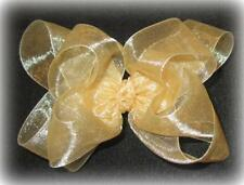 Gold Organza Double Layered Fancy Hair Bows Girls Party Glamour Hairbow Sheer