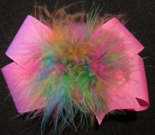 Pastel Boutique Hair Bow Marabou Puff Rainbow Feather Hairbow Baby Large 5 inch