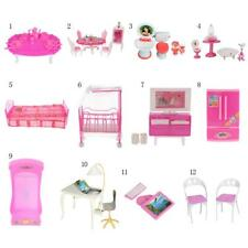 Plastic Dolls House Furniture Kids Pretend Play Toys for 1/6 Barbie Sisters Doll
