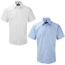 """Russell Collection Mens Short Sleeve Herringbone Shirt Collar Size 14.5-19.5"""""""