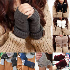 Womens Button Arm Warmer Fingerless Knit Mitten Winter Autumn Gloves 9 Colors