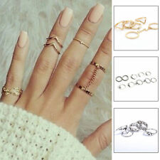 6Pcs/set Sex Women Crystal Knuckle Joint Plated Midi Finger Ring Fashion Jewelry