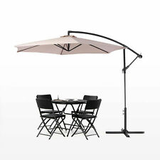 10' Hanging Umbrella Patio Sun Shade Offset Outdoor with Cross Base backyard new