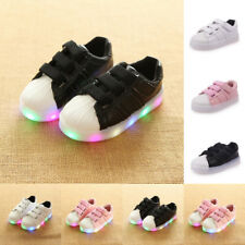 Kids Boy Girl Light Up Slip On Sneakers LED Flashing Trainers Lace Up Shoes Size