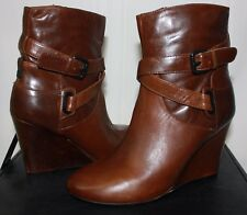 RUDSAK Lia Wedge Ankle Leather boots Cohiba Brown NEW WITH BOX!