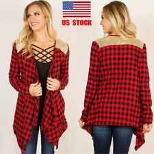 US Women Long Sleeve Red Black Plaid Wrap Casual Cardigans Shirt Sweater Jacket