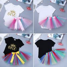 Baby Girls Crown First 1st Birthday Outfit Tutu Skirt Romper Set Cake Smash Top