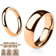Glossy Mirror Polished Rose Gold IP Dome 316L Surgical Stainless Steel Band Ring