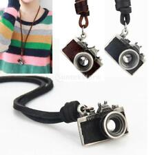 BLACK BROWN FM2 VINTAGE CAMERA pendant necklace LONG CHAIN antique Leather 3D