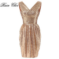 Short Sequin Gown Bridesmaid Dress Formal Evening Cocktail Party Prom Dress