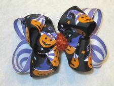 Halloween Hairbow Pumpkin Hair Bow halloween Purple Bows Girls Boutique Double