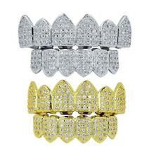 18K Gold Plated Hip Hop Iced Out CZ Grills Top&Bottom Teeth Caps   Sets