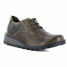 Fly London Mixi Womens Leather Wedge Shoes - Olive Brown