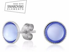 Sterling Silver Earrings Genuine Cabochon Crystals from Swarovski® 7 Colours