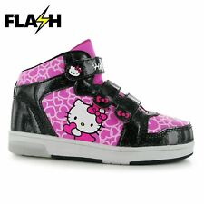 Hello Kitty Light Up Flash Hi Top Trainers Infants Pink/Black Sneakers Shoes