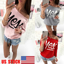 US Womens Long Sleeve Top One Shoulder T-Shirt Loose Lace Up Shirt Casual Blouse