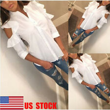 US Womens Off Shoulder 3/4 Sleeve Shirts Button Collar Tops Ruffle Casual Blouse