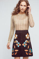 NWT - ANTHROPOLOGIE - MOULINETTE SOEURS Patchworked Suede Mini Skirt 0/2/4 $258