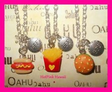 3pc BFF Junk Food Hotdog Fries Hamburger Best Friends Forever Necklaces USA MADE