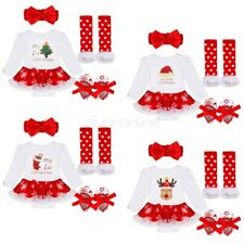 4PCS Infant Baby Girls Christmas Outfit Romper Dress Bodysuit Costume Xmas Gift