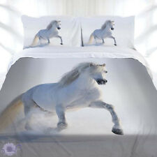 Horse Duvet | Doona Quilt Cover Set | Galloping White Welsh | Just Home Bedding