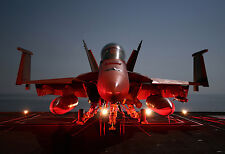 F-18 Hornet Readying For Night Launch - Plane Poster Print - Military Jet Photo
