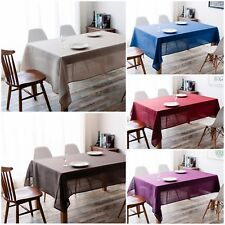 IMEA HOME Solid Faux Linen Water Repellent Fabric Tablecloth 55x85 inch
